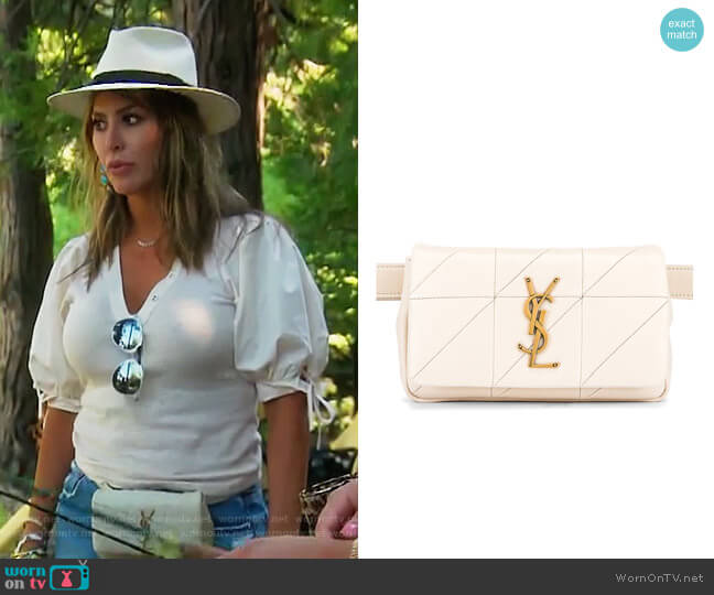 Jamie Leather Belt Bag by Saint Laurent worn by Kelly Dodd  on The Real Housewives of Orange County