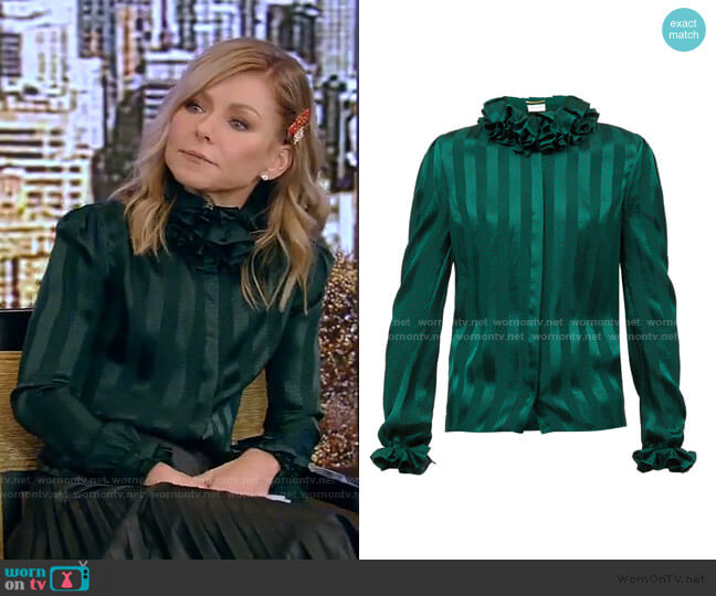 Ruffled striped silk-satin blouse by Saint Laurent worn by Kelly Ripa  on Live with Kelly & Ryan