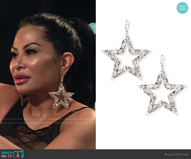 Smoking Crystal Star Earrings by Saint Laurent worn by Jen Shah  on The Real Housewives of Salt Lake City
