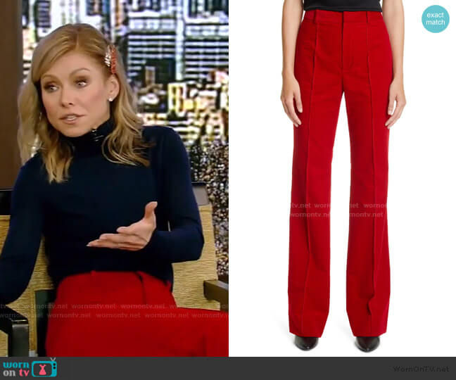 Cord Flared Pants by Saint Laurent worn by Kelly Ripa  on Live with Kelly & Ryan