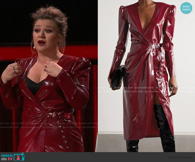 Latex Midi Wrap Dress by Saint Laurent worn by Kelly Clarkson  on The Voice