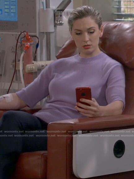 Samantha's purple short sleeve sweater on B Positive