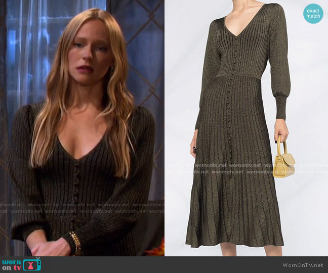 Metallic Ribbed-Knit Dress by Sandro worn by Abigail Deveraux (Marci Miller) on Days of our Lives