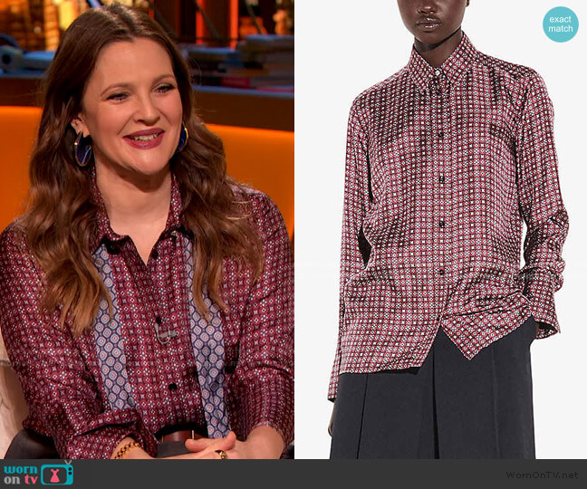 Geometric Floral-Print Silk-Twill Shirt by Sandro worn by Drew Barrymore  on The Drew Barrymore Show