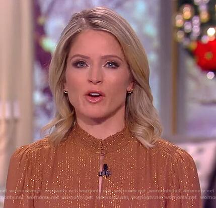 Sara's brown metallic keyhole dress on The View