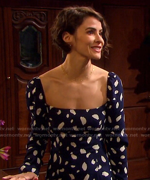 Sarah's blue printed square neck midi dress on Days of our Lives
