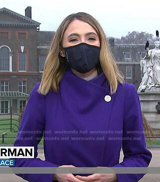 Sarah Harman's purple wrap coat on Today