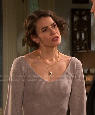 Sarah's ribbed v-neck sweater on Days of our Lives