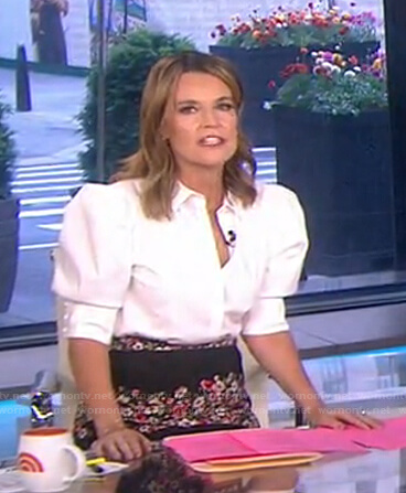 Savannah's white puff sleeve blouse on Today