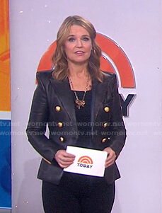 Savannah's black double breasted leather blazer on Today