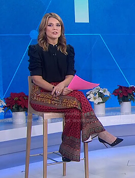 Savannah's black blouse and printed pants on Today
