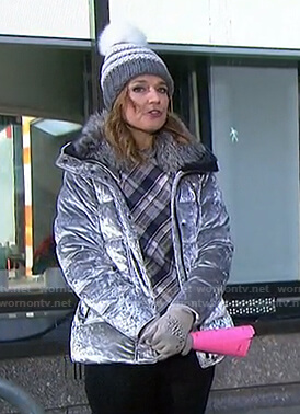 Savannah's plaid top and velvet puffer jacket on Today