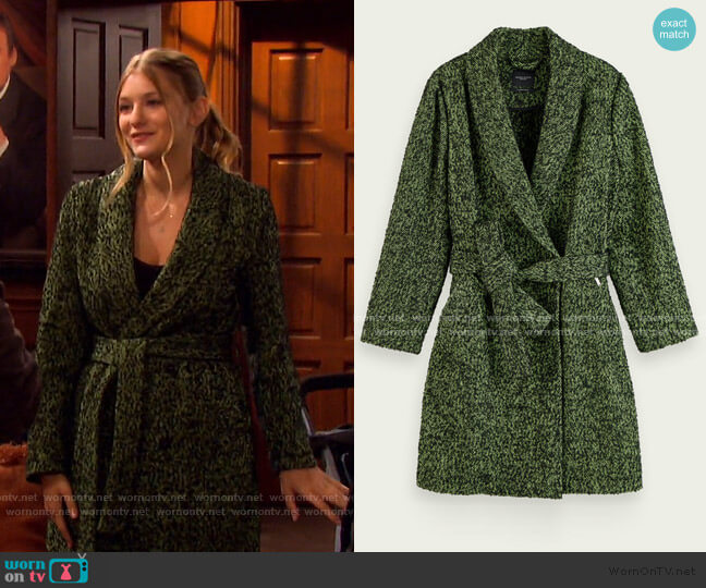 Textured Wool-Blend Wrap Coat by Scotch & Soda worn by Alice Caroline Horton (Lindsay Arnold) on Days of our Lives