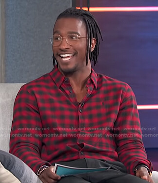 Scott Evans's red and black checked shirt on Access Hollywood
