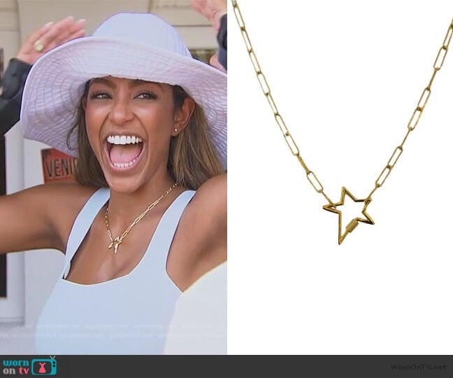 Gold Star Lock Necklace by Shalla Wista worn by Tayshia Adams  on The Bachelorette