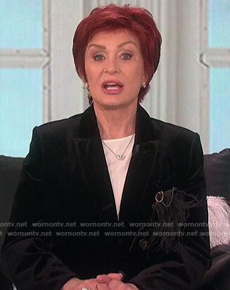 Sharon's black velvet feather pocket blazer on The Talk