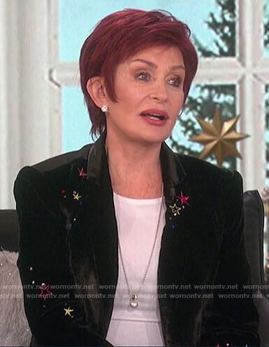 Sharon's black velvet star embroidered blazer on The Talk