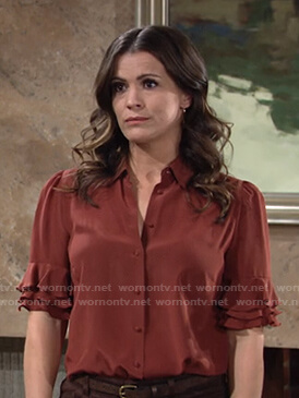 Chelsea's red ruffled sleeve top on The Young and the Restless