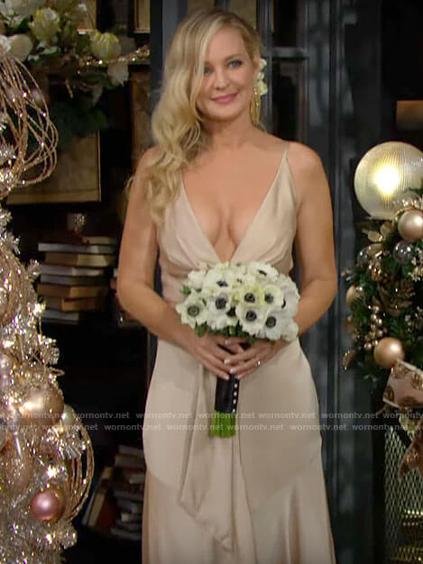 Sharon's champagne wedding dress for her wedding to Rey on The Young and the Restless