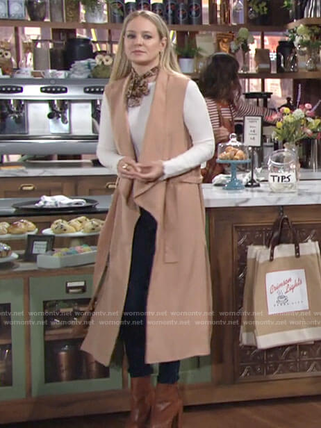 Sharon's long vest and white top on The Young and the Restless