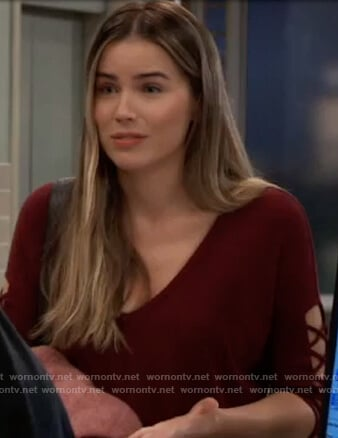 Sasha's red lace-up sleeve top on General Hospital