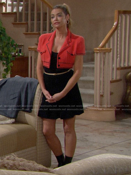 Shauna's red cropped jacket on The Bold and the Beautiful