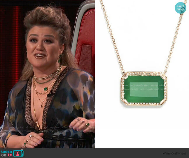 Green Onyx Portrait Pendant Necklace by Shay worn by Kelly Clarkson  on The Voice