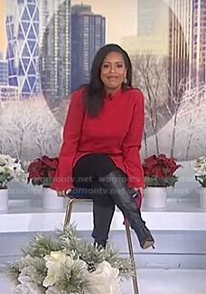Sheinelle's red mock neck top on Today