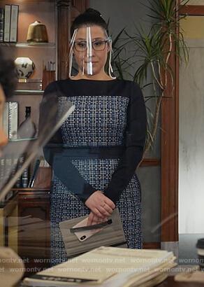 Sherri's blue tweed dress on All Rise