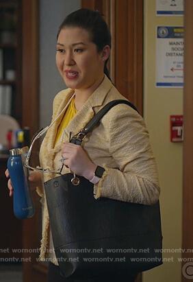 Sherri's yellow tweed blazer on All Rise