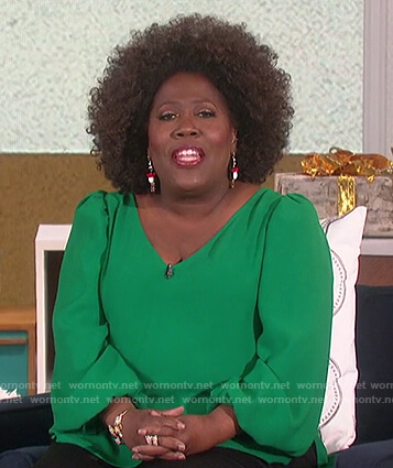 Sheryl's green puff sleeve blouse on The Talk