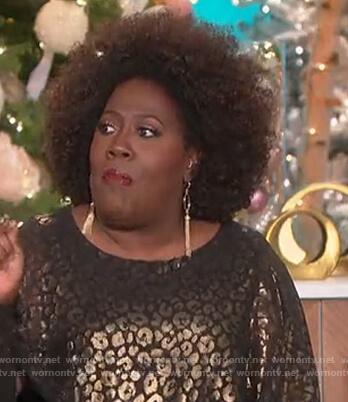 Sheryl's metallic leopard blouse on The Talk