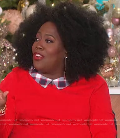 Sheryl's red layered sweater on The Talk