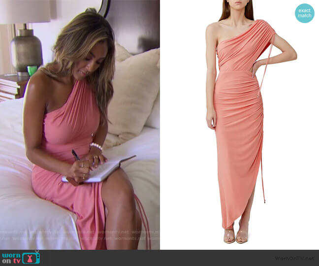 Sirene Ruched One-Shoulder Dress by Significant Other worn by Tayshia Adams  on The Bachelorette