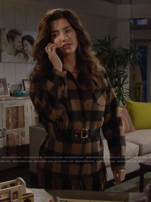 Steffy's brown checked fringe-trim jacket on The Bold and the Beautiful