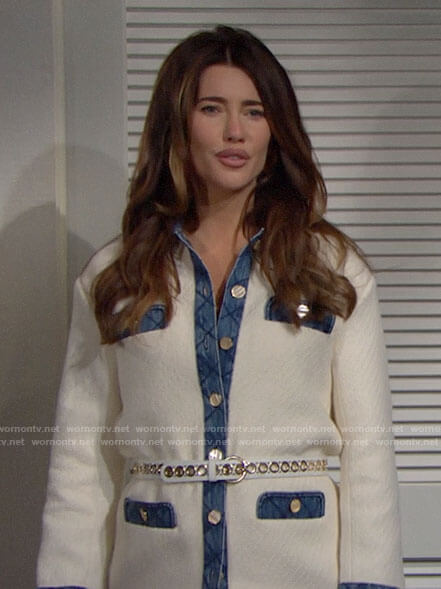 Steffy's white jacket with denim trim on The Bold and the Beautiful