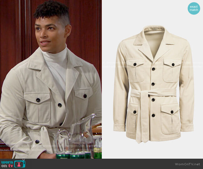 Suitsupply Off White Belted Safari Jacket