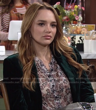 Summer's floral blouse and green velvet blazer on The Young and the Restless