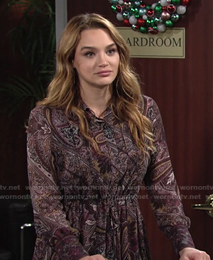 Summer's paisley print dress on The Young and the Restless