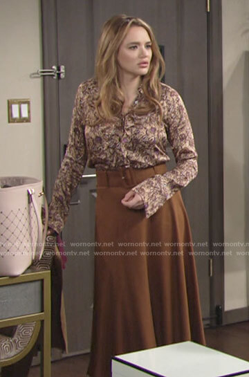 Summer's beige floral ruffle blouse on The Young and the Restless