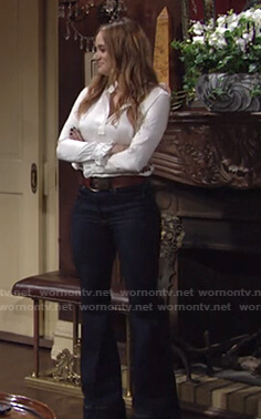 Summer's white ruffle blouse and flare jeans on The Young and the Restless