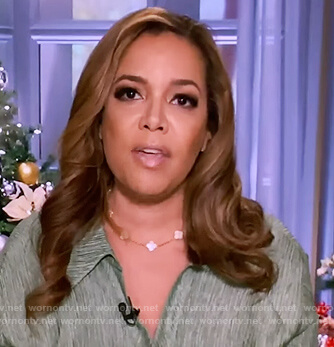 Sunny's green button front blouse on The View