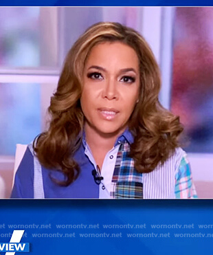 Sunny's blue patchwork blouse on The View