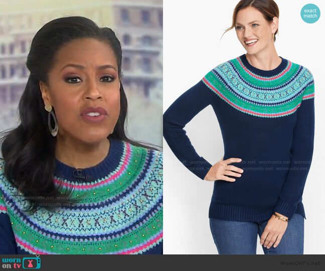 Beaded Fair Isle Sweater by Talbots worn by Sheinelle Jones  on Today