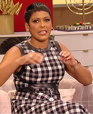 Tamron's black belted plaid dress on Tamron Hall Show
