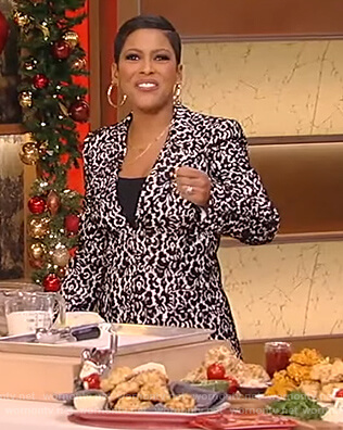 Tamron's black and white lace blazer and pants on Tamron Hall Show