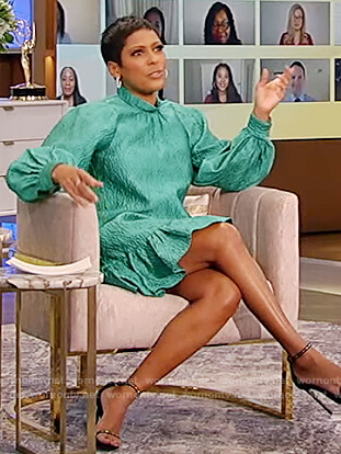 Tamron's green mock neck textured dress on Tamron Hall Show