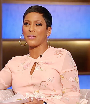 Tamron's pink floral keyhole dress on Tamron Hall Show