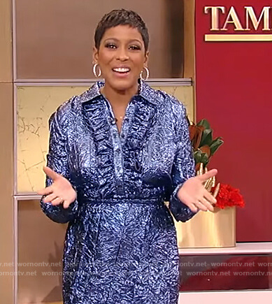 Tamron's blue metallic foil blouse and skirt on Tamron Hall Show