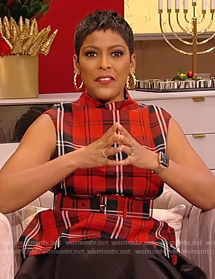 Tamron's red plaid belted top on Tamron Hall Show
